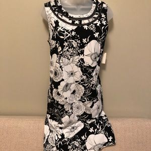 Talbots black and white knit dress. NWT